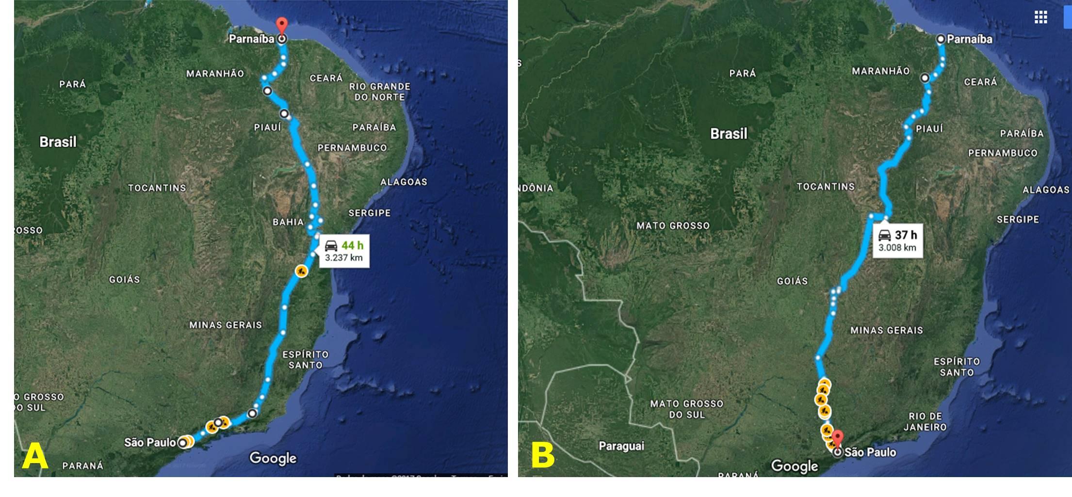 """Figura 1 – Percurso de ida (A) e volta (B) ao longo de mais uma viagem da série """"Viajando com a Fitogeografia"""" do portal eFlora"""